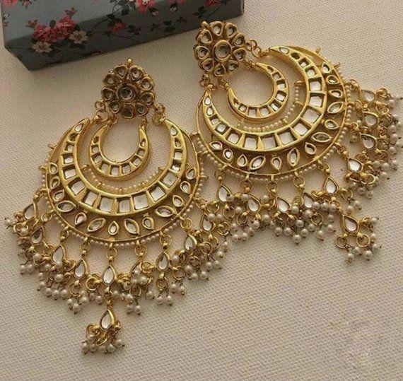 84132cd875 Indian jewelry, big gold chandbalis, traditional jewelry, kundan plated  chandbalis, indian earrings,