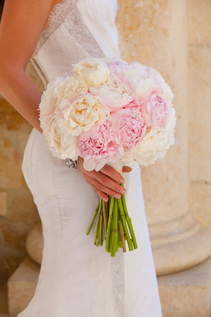 Pink & White Peony Bouquet by MarksGarden.com on #SMP here: http://www.StyleMePretty.com/2014/04/28/glamorous-garden-affair-in-beverly-hills/