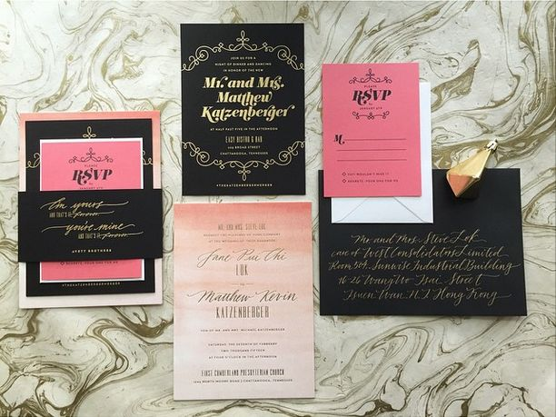 wedding invitation suite: watercolor + gold foil invite card, gold foil on black reception card, flat  printed reply card and gold foil stamped belly band. Gold calligraphy on black envelopes - papermade design