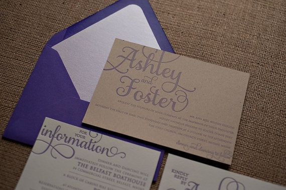 Purple & Kraft Rustic Calligraphy Letterpress by JustInviteMe, $12.50