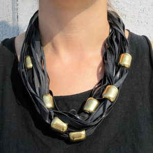 Beaded Scarf Necklace - brass beads on leather strips - could be done with T-shirt fabric, too