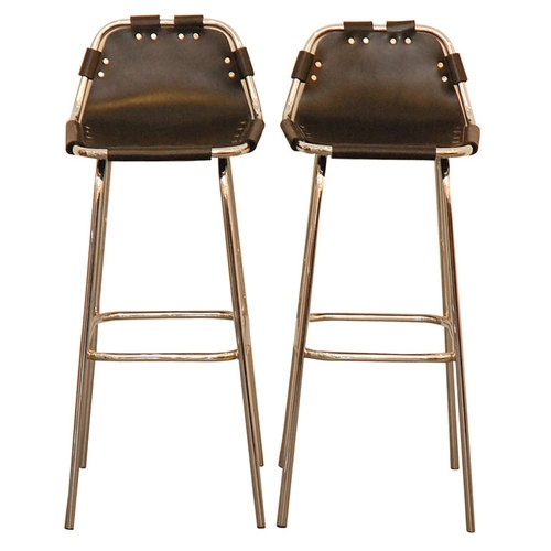Les Arcs Black Leather Barstools