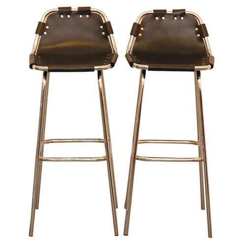 Les Arcs Black Leather Barstools