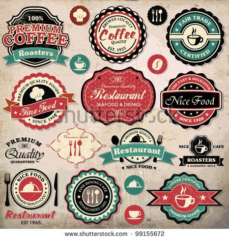 stock vector : Collection of vintage retro grunge coffee and restaurant labels, badges and icons