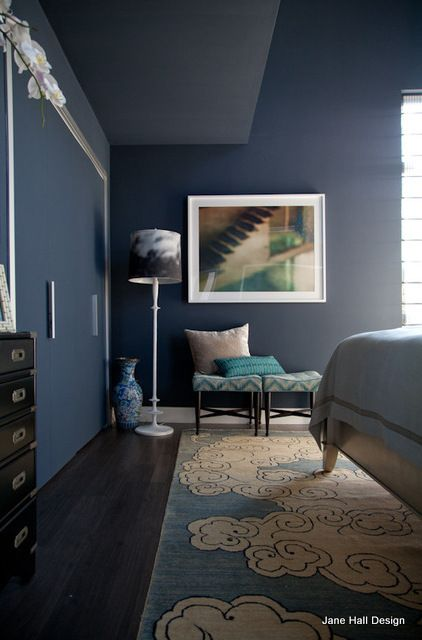 Contemporary Style Bedroom With Midnight Blue Walls