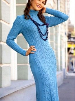 Dress with Cable Pattern #Knitting Sizes: 12/14 (US 10/12). http://knitchart.com/item/dress-with-cable-pattern.html