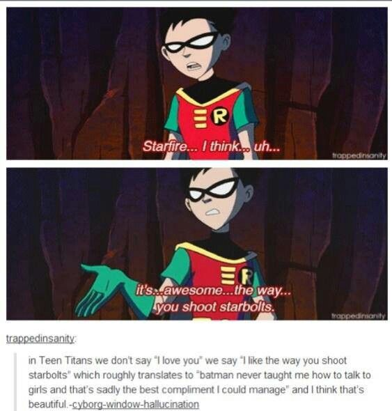 """In Teen Titans, we don't say """"I love you,"""" we say """"It's awesome the way you shoot starbolts,"""" and I think that's beautiful."""