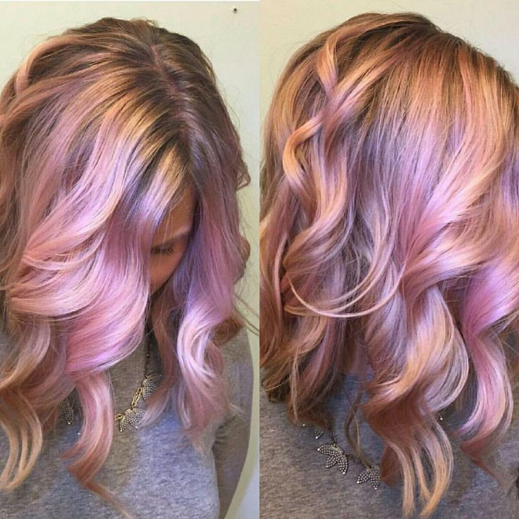 Iridescent Pink And Rose Gold Hair Color Design By