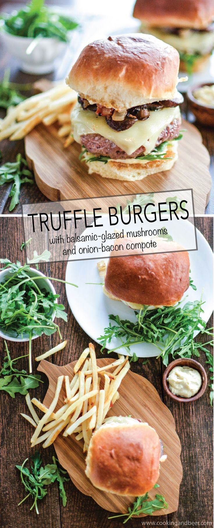 Truffle Burgers with Balsamic-Glazed Mushrooms and Onion-Bacon Compote: a gourmet twist on a classic that is perfect to grill up this summer! | www.cookingandbeer.com