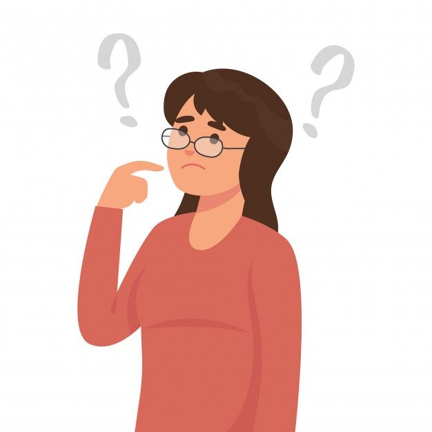 Young Woman Is Thinking With Many Questions Vector Illustration Character Girls Cartoon Art Cartoon Art Styles