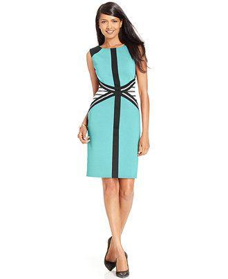 Ivanka Trump Sleeveless Colorblocked Sheath Dress - Dresses - Women - Macy's