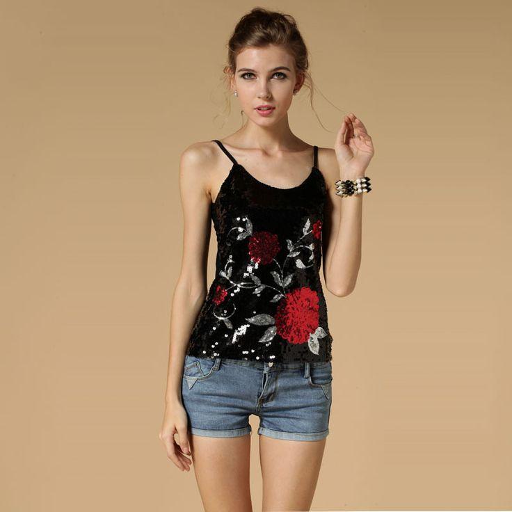 BLINGSTORY Hotsale! Europe high quality flower paillette T-shirts women lady tops tees roupa de ginastica feminina