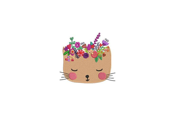Machine Embroidery Kitty with Flowers Crown Machine Embroidery File design 4 x 4 inch hoop by Oopsidaisi on Etsy https://www.etsy.com/au/listing/548282757/machine-embroidery-kitty-with-flowers