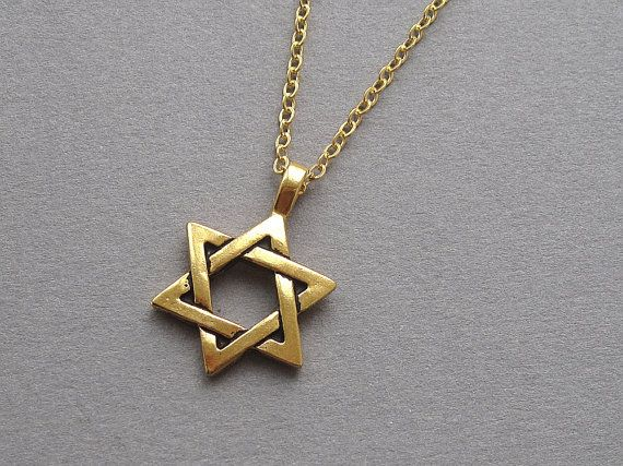 Star of David necklace antiqued gold magen david by sevenstarz, $14.00