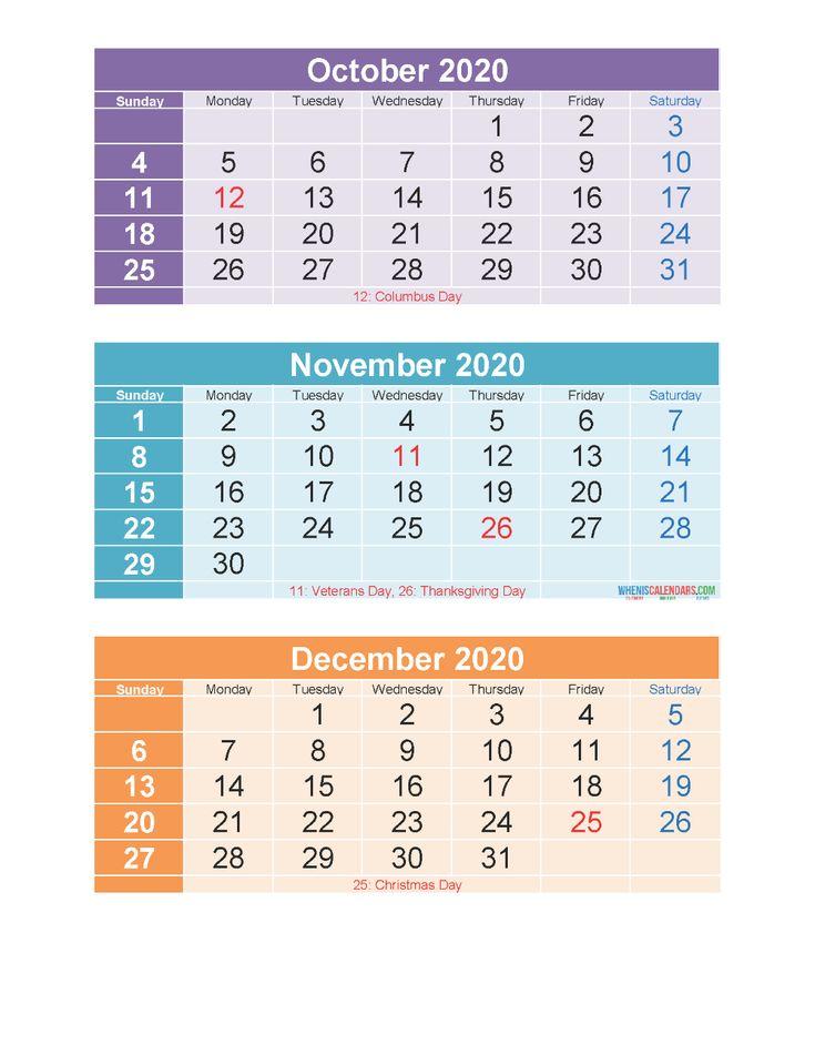 Free Printable 3 Month Calendar 2020 Oct Nov Dec PDF ...