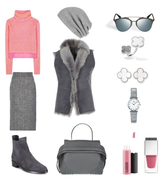 """Union of grey and pink"" by lupik on Polyvore featuring мода, White + Warren, Tod's, MAC Cosmetics, Givenchy, Valentino, Longines, Stuart Weitzman и Acne Studios"