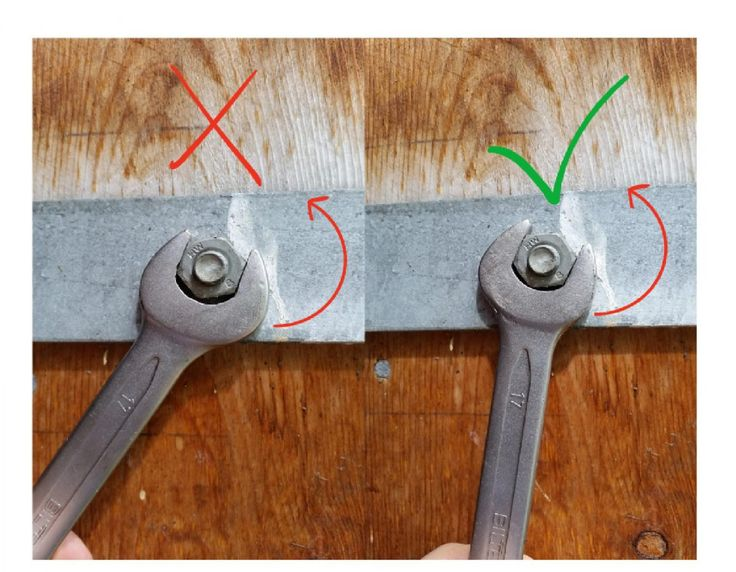 A photo showing how to correctly use the open end on a wrench.