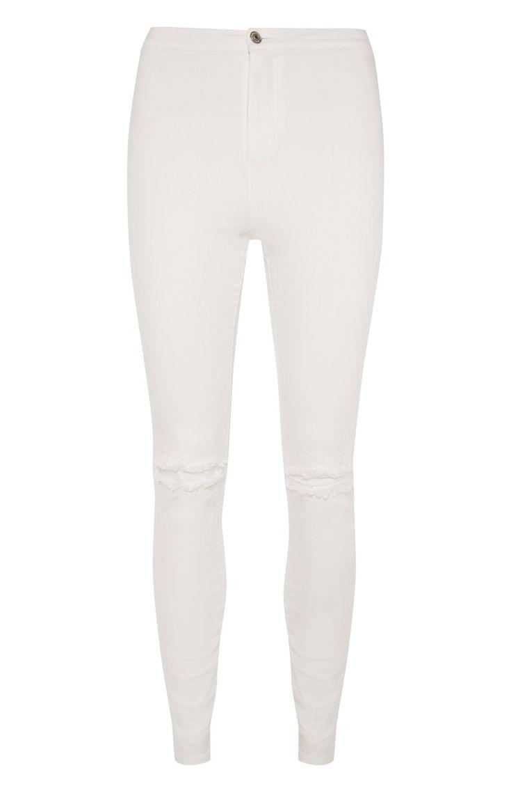 Witte skinny jeans met scheuren