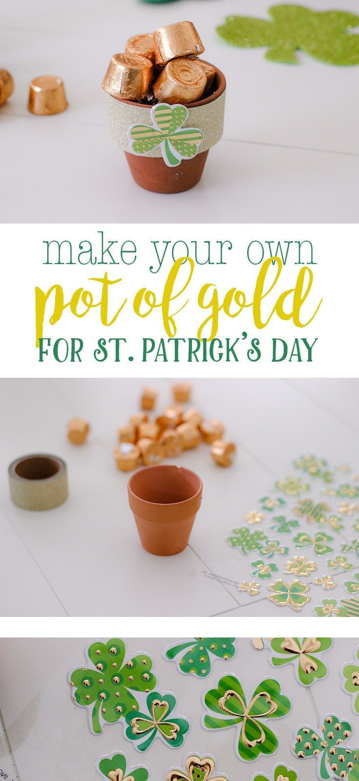 St. Patrick's Day craft Easy DIY for how to make your own pot of gold for St. Patrick's Day #stpatricksday #kidcraft