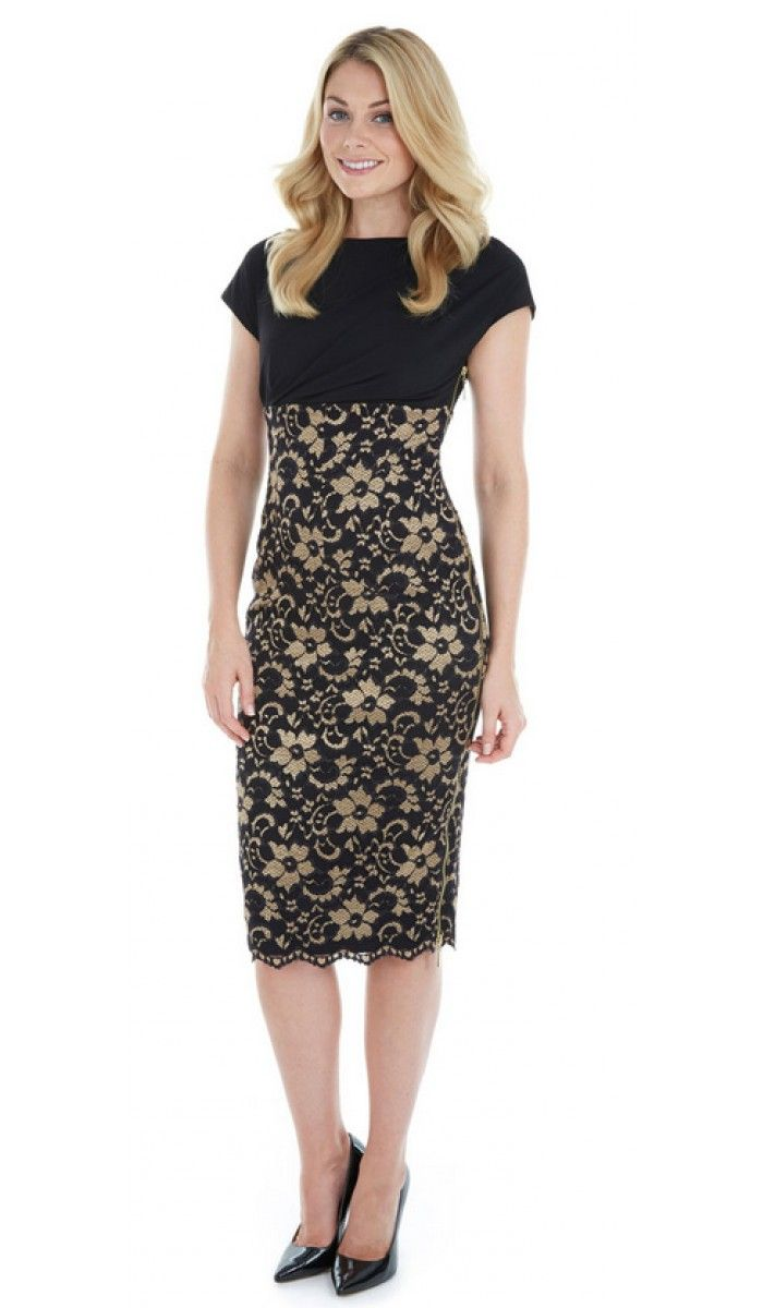 The Pretty Dress Company Melrose in gold and black is perfect for the party season....it flatters curves and looks fabulously glam.....available in store now