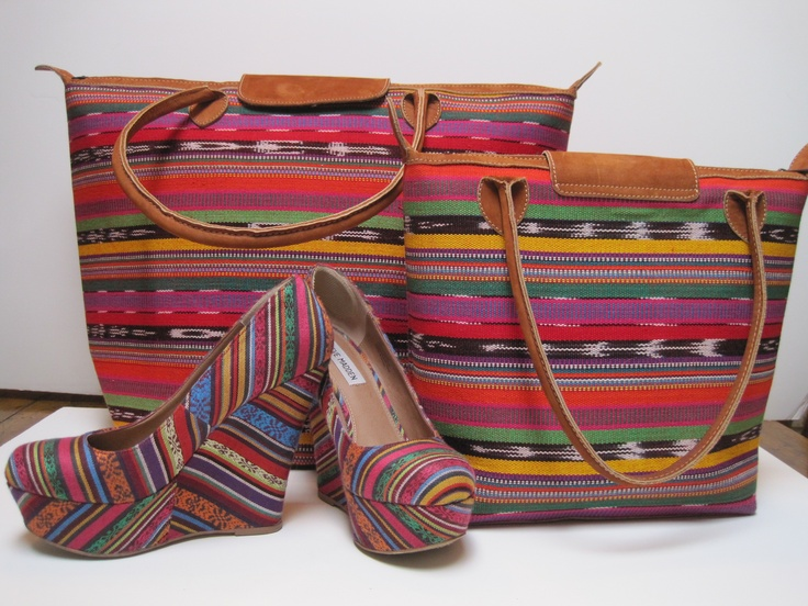 Guatemalan Fiesta Stripe Purse & Tote with Coordinating Steve Madden Shoes.  Purses & totes found