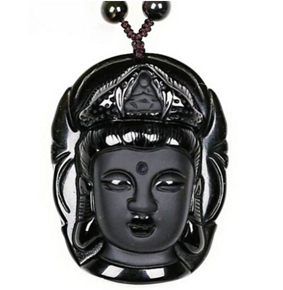 """""""New Healing"""" Volcanic Lava Obsidian Buddha Necklace (for New Beginnings)"""
