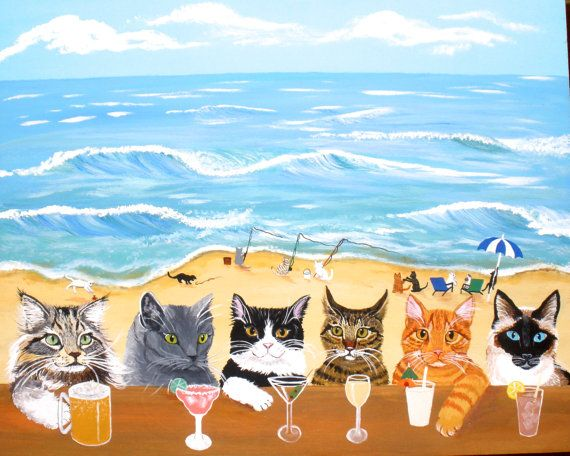 Cats at the Beach Bar 11 x 14 matted print fits 11 by MainelyPets