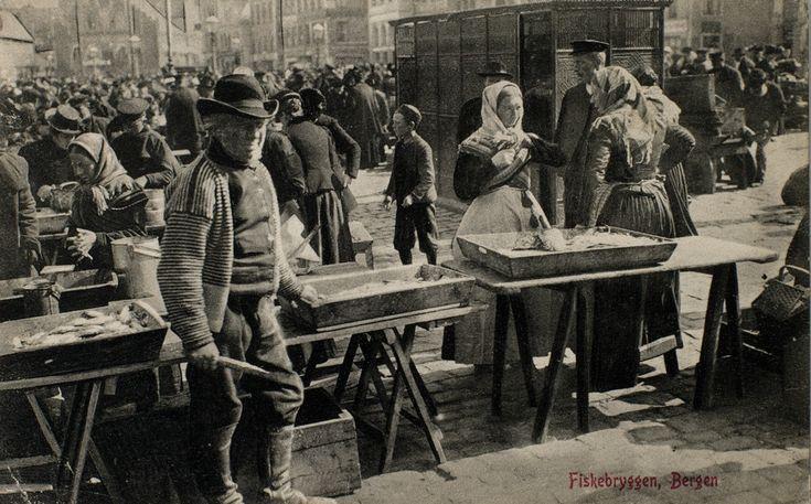 Fiskebryggen Bergen tidlig 1900-tall Mittet