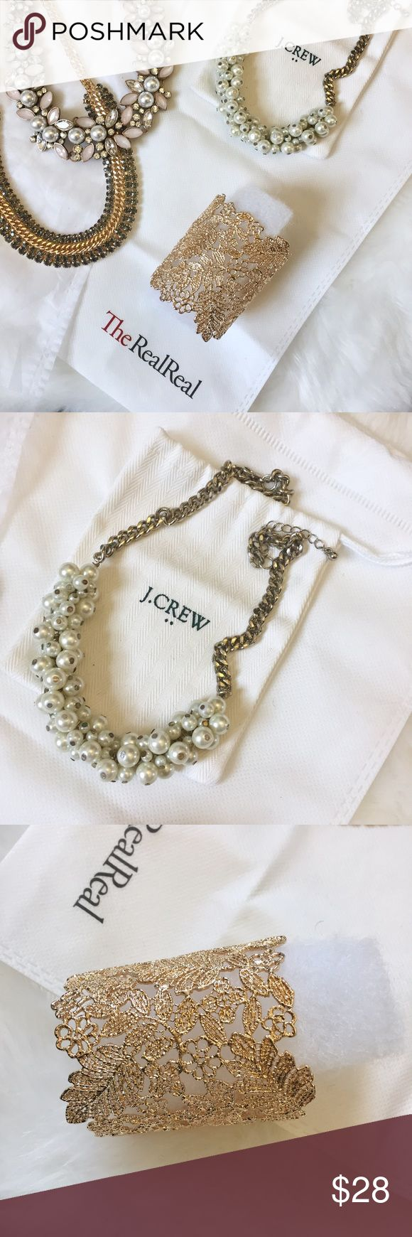 Assorted Jewelry with Dust Bag (bundle of 4 items) Three necklaces and one bracelet/cuff. I believe the pearl one is from J. Crew (2014), the green jeweled one is from Banana Republic (2016), and the adjustable cuff is from Nordstrom (Sole Society filigree bracelet, 2017). Happy to sell separately upon request. Will ship with dust bags and protected bubble wrap! J. Crew Jewelry Necklaces