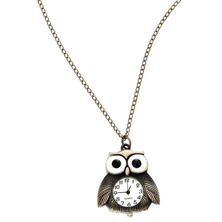 Orologio Gothic - Owl  da taschino in acciaio inossidabile con rivestimento in bronzo e movimento al quarzo. Retro in acciaio inossidabile. Catenina: 78 cm circa. Pendente: 3,5 x 4 cm circa.