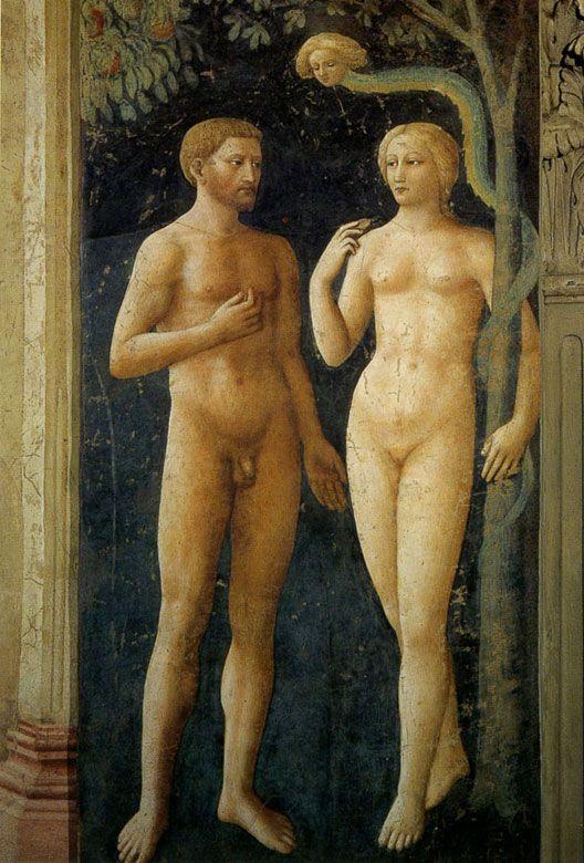 Brancacci Chapel - Florence. Мазолино - Искушение Адама и Евы.