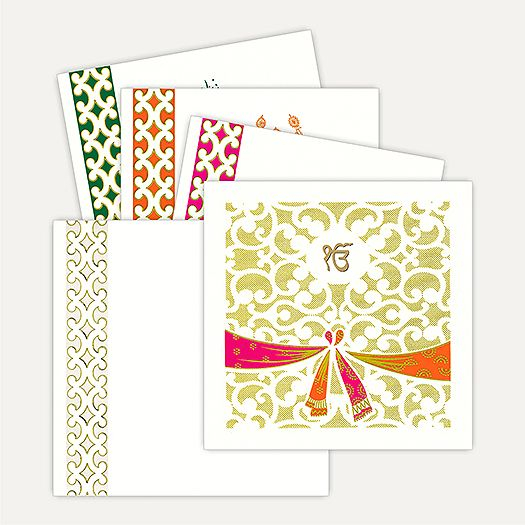 Exclusive Designer Invitation made out of Ivory (Cream) paper board graced by a #beautiful traditional knot symbol studded with colors. Gold plated Ek Onkar sticker placed in oval circle surrounded by beautiful design in gold printing on front of the card gives amazing look. Card comes with matching envelope and Inserts inside have an option of three different colored borders. #‎sikhweddingcards‬ #wedding