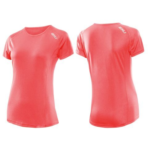 2XU Active Run Short Sleeve Top Dame NEON CORAL/NEON
