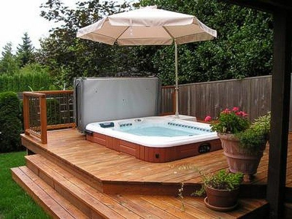Hot Tub backyard spa  don't like the umbrella but good idea on steps and skirting