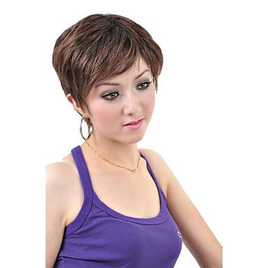 Capless+Short+Synthetic+Coffee+Straight+Hair+Wig+–+USD+$+29.99