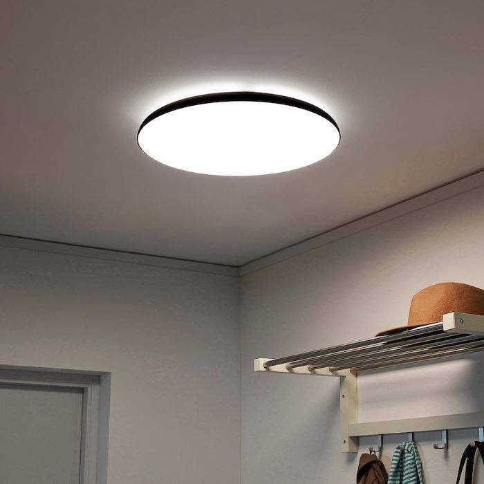 Nymane Led Ceiling Lamp Anthracite Ikea In 2020 Ikea Ceiling Light Low Ceiling Lighting Led Ceiling Lamp