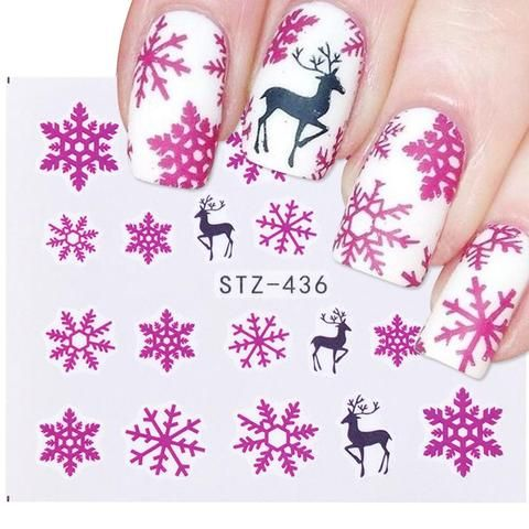 d260405dc6d6 1pcs Nail Art Sticker New Year Slider Tattoo Christmas Water Decal Santa  Claus Snowman Full Wraps Designs Decals SASTZ405-439