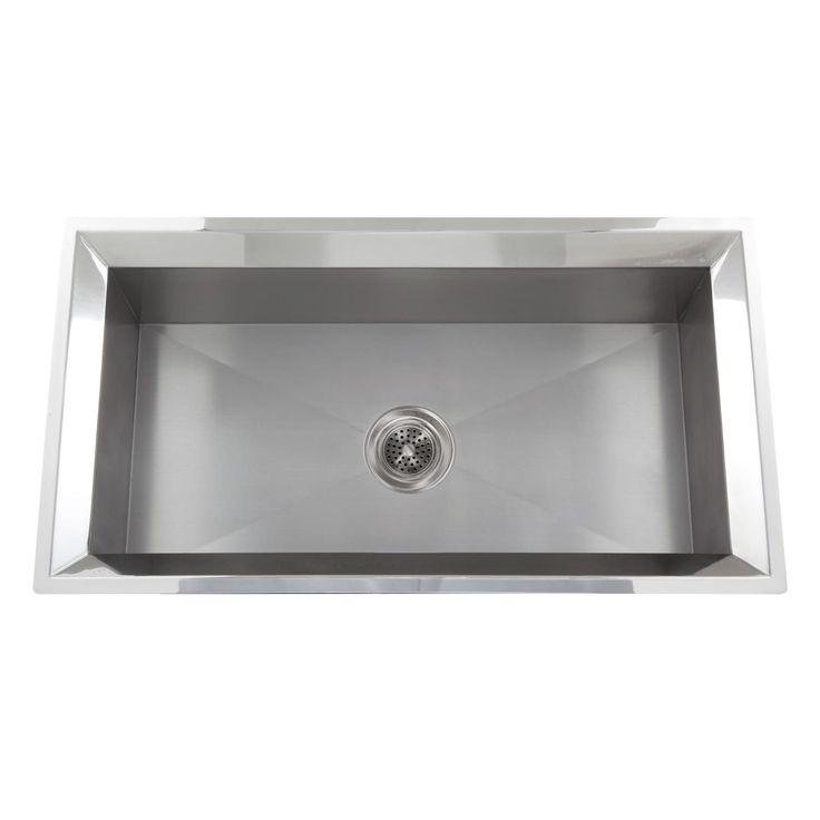 """33"""" Optimum Rectangular Stainless Steel Bar Sink - Polished Rim"""