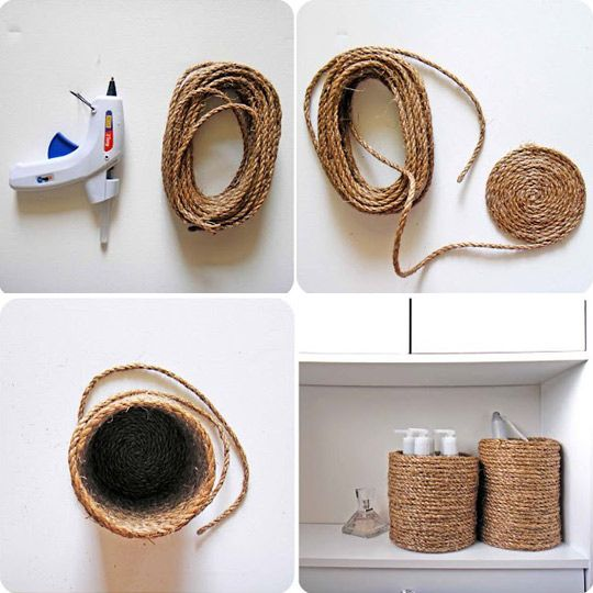40 Easy Things To Do With Mason Jars: Ropes Container, Decor, Crafts Ideas, Diy'S, Diy Craft, Genius Ideas, Baskets, Mason Jars, Crafty Ideas