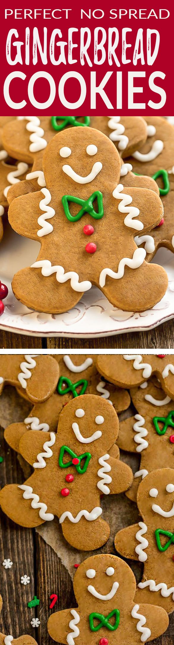 This recipe for these adorably cute homemade from scratch Gingerbread cookies are a classic holiday favorite. You can cut them into gingerbread men, stars, houses or any shape you have. They are perfectly spiced and flavored with with cinnamon, brown sugar, molasses, cloves and nutmeg. Best of all, easy to make with soft and chewy with slightly crisp edges.  Amazing for your cookie platter or package them up for friends, family or neighbor gifts. #christmas #holiday #gingerbread #cookies