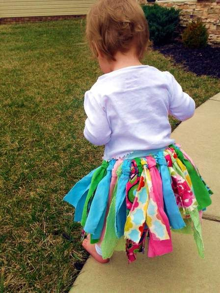 DIY fabric scrap tutu tutorial. I like this one better because it does the traditional tutu knot and not just knots! Lol