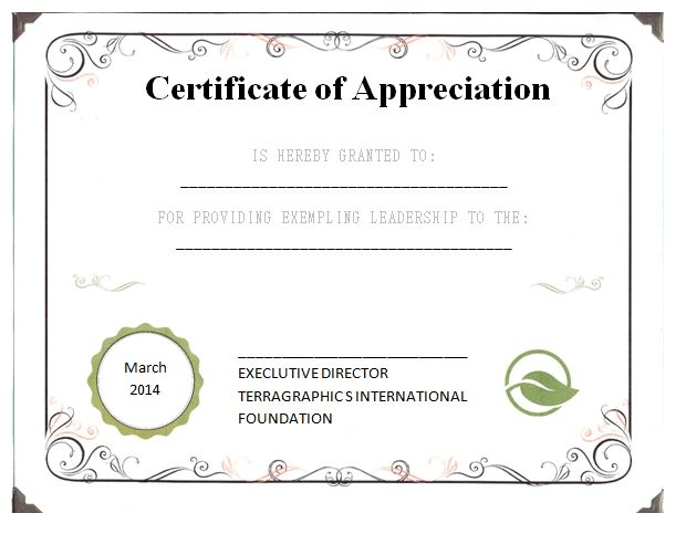 37 best images about Certificate of Appreciation Templates on – Word Certificate of Appreciation Template