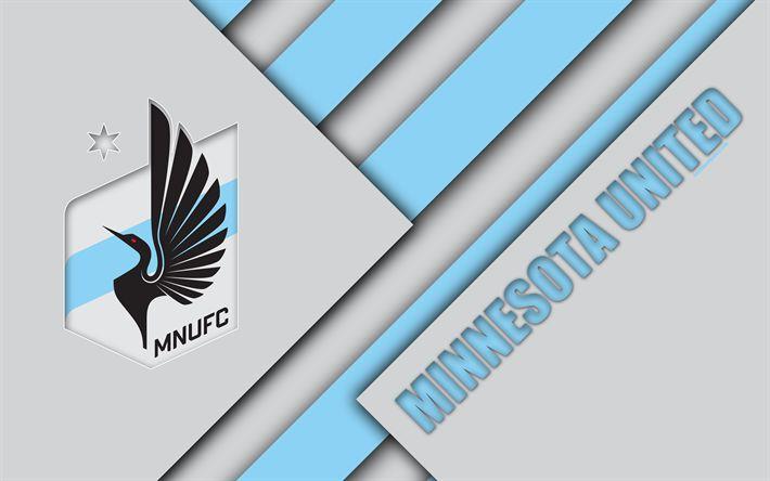 Download wallpapers Minnesota United FC, material design, 4k, logo, gray blue abstraction, MLS, football, Minneapolis, Minnesota, USA, Major League Soccer