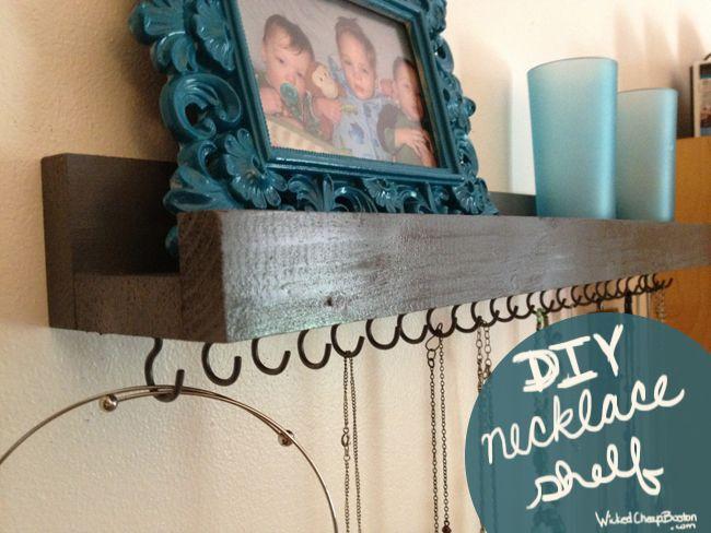 DIY Necklace shelf.  Clever!
