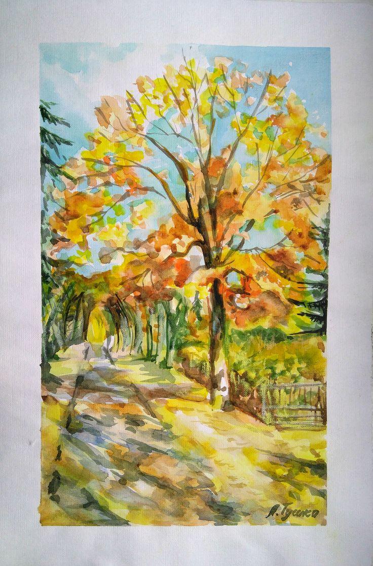 Fall Landscape. Original Watercolor Painting, wall art decor, yellow tree, 11х15,