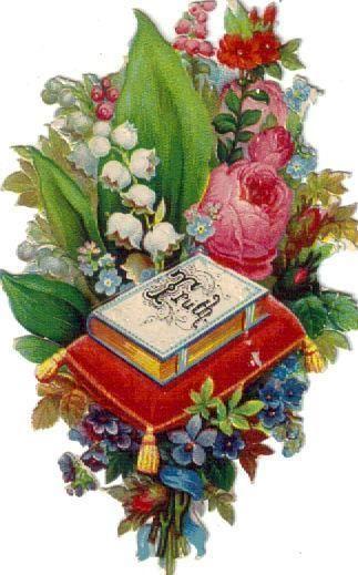 Victorian Die Cut Scrap Floral Love Vignette c1880