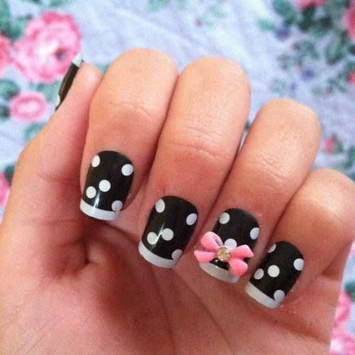 Cute black nails with white polka dots & pink bow