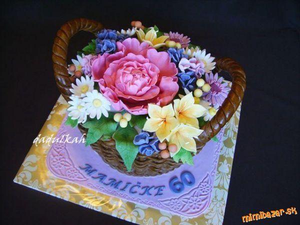 Výsledok vyhľadávania obrázkov pre dopyt torta košík s kvetmi
