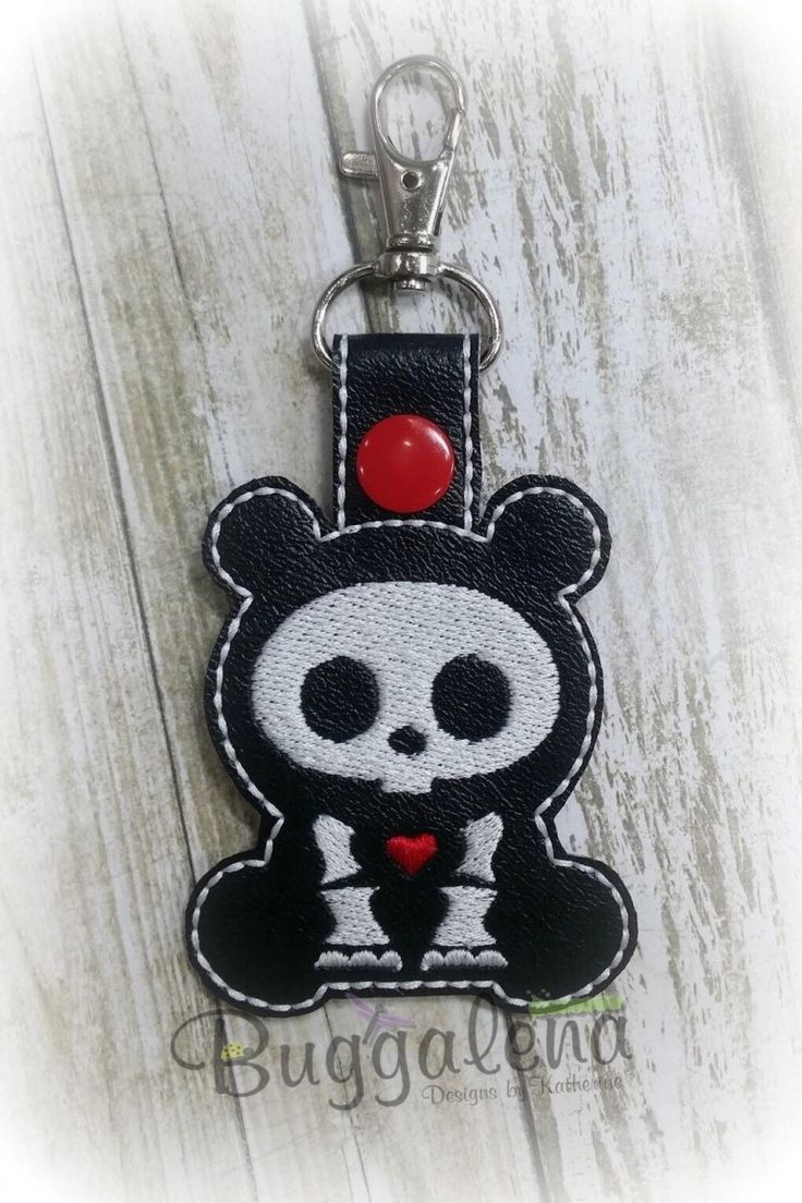 Skull Panda Snap Tab Key Fob Embroidery Design