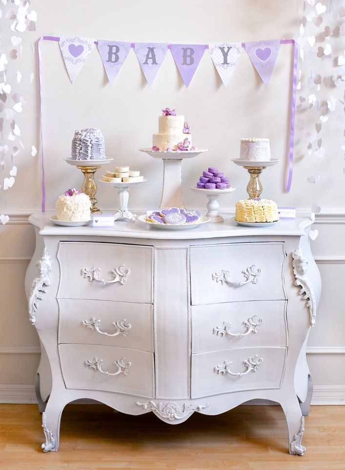 Adorable dessert table for a lavender baby shower - #desserttable: Dessert Tables, Chiffonier, Purple, Cakes, Party Idea, Showers Idea, Desserts Tables,  Commod, Baby Showers